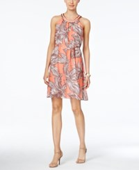 Nine West Tropical Print Embellished Halter Dress Guava Comb