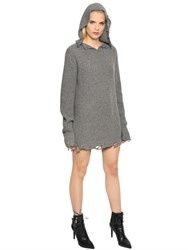 Rta Destroyed Cashmere Rib Knit Hooded Dress