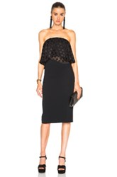 Cushnie Et Ochs Selena Stretch Cady Satin Dot Strapless Dress In Black Geometric Print