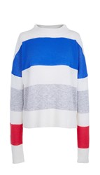 Tibi Striped Cashmere Oversized Airy Pullover