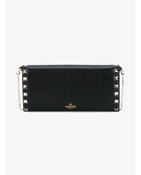 Valentino Rockstud Grained Leather Chain Wallet Black