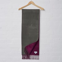 Johnstons Of Elgin Khaki Plum Cashmere Reversible Scarf