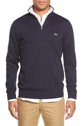 Lacoste Quarter Zip Pullover Sweater Navy Silver