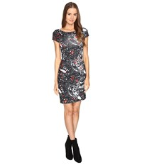 Just Cavalli Short Sleeve Cat And Tails Printed Jersey Dress Black Women's Dress