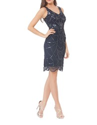 Js Collections Art Deco Beaded Tank Dress Navy Mercury