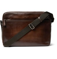 Berluti Plein Jour Scritto Polished Leather Messenger Bag Brown