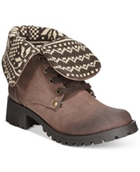 Dolce By Mojo Moxy Lumberjack Foldover Booties Women's Shoes Chocolate