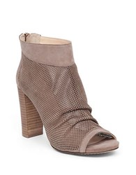 Vince Camuto Cosima Perforated Suede Ankle Boots Taupe