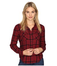 Volcom Lodge Life Long Sleeve Top Scarlet Women's Long Sleeve Button Up Red