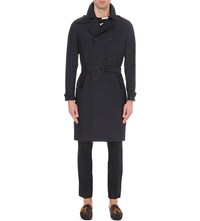 Burberry Double Breasted Silk Blend Trench Coat Dark Navy