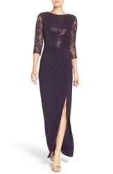 Alex Evenings Women's Embellished Split Front Gown Eggplant