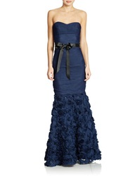 Js Collections Strapless Shirred Mesh Gown With Flowered Skirt Navy
