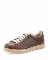 Brunello Cucinelli Men's Leather Sneaker Espadrille Brown