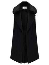 Helene For Denim Wardrobe Faux Fur Collar Waistcoat Black