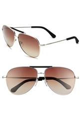 Jack Spade 'Hopkins' 62Mm Polarized Sunglasses Satin Silver Brown Gradient