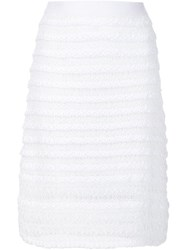 Thakoon Addition Striped Knit Pencil Skirt White