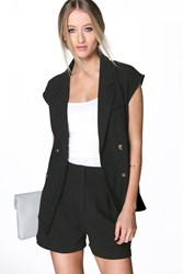Boohoo Double Breasted Waistcoat Black