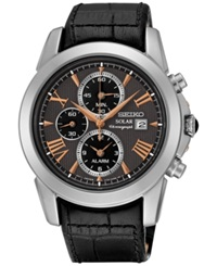 Seiko Men's Solar Chronograph Le Grand Sport Black Leather Strap Watch 42Mm Ssc379 No Color