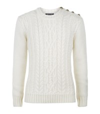 Balmain Chunky Cable Knit Sweater Male Beige