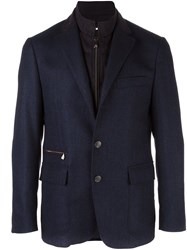 Corneliani Buttoned Layered Effect Blazer Blue