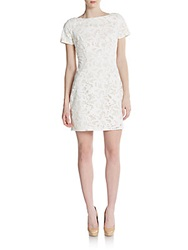 Alexia Admor Lasercut Lace Shift Dress Ivory