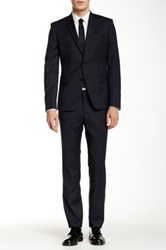 Versace Woven Blue Two Button Notch Lapel Wool Suit