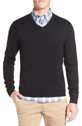 Nordstrom Men's Big And Tall Men's Shop Cotton And Cashmere V Neck Sweater Black Caviar