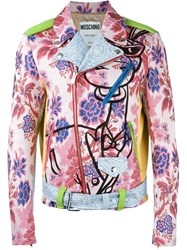 Moschino Floral Print Biker Jacket Multicolour