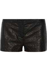 Just Cavalli Perforated Croc Effect Leather Shorts Black