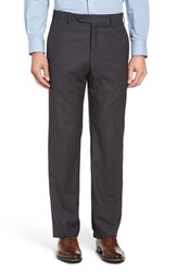 Zanella Men's Flat Front Check Wool Trousers Dark Grey