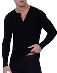 2Xist Essential Cotton Henley Shirt Black