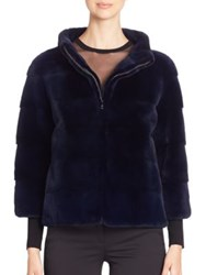 Michael Kors Mink Fur Jacket Navy