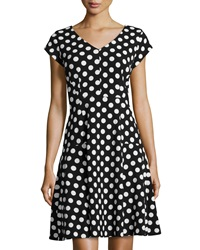 Chetta B Polka Dot Fit And Flare Dress Black White