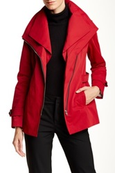 Soia And Kyo Removable Collar Rain Trench Coat Red