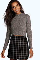 Boohoo Turtle Neck Long Sleeve Crop Jumper Charcoal