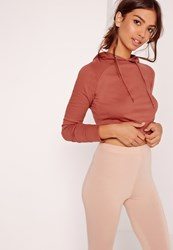 Missguided Cropped Hoodie Pink Red