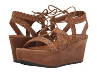 Trask Patrice Dark Camel Kid Suede Women's Wedge Shoes Brown