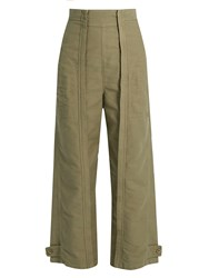 Chloe Topstitched Wide Leg Cotton Trousers Khaki