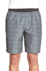Men's Prana 'Mojo' Quick Dry Shorts Grey Blue Plaid