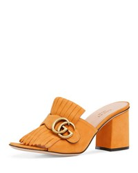 Gucci Marmont Suede Mule Sandal Yellow