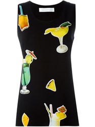 Victoria Victoria Beckham Cocktail Print Tank Top Black