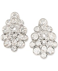 Carolee Silver Tone Crystal Cluster Stud Earrings