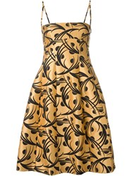 Eggs Leaves Print Spaghetti Straps Dress Yellow And Orange