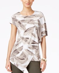 Alfani Short Sleeve Asymmetrical Blouse Only At Macy's Sketch Olive