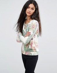 Only Tropical Print Sweatshirt Whisper White Aop
