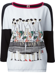 I'm Isola Marras Isola Marras Panelled Sleeve Print Top