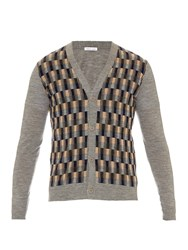 Tomas Maier Checked Front Fine Knit Wool Cardigan
