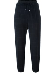 Brunello Cucinelli Cropped Check Print Trousers Blue