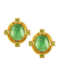 Cab Boy And Bird Intaglio Clip Post Earrings Green Elizabeth Locke
