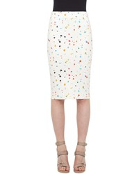Akris Punto Boulder Print Midi Pencil Skirt Cream